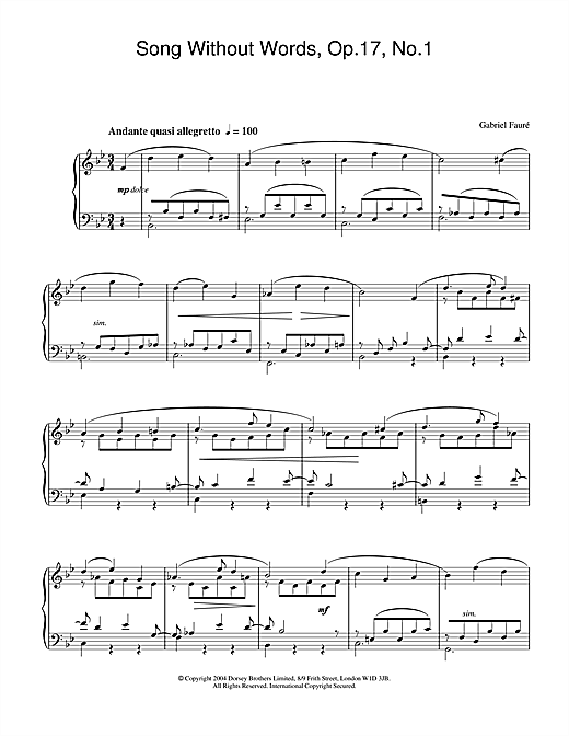 Partition piano Song Without Words, Op.17, No.1 de Gabriel Faure - Piano Solo