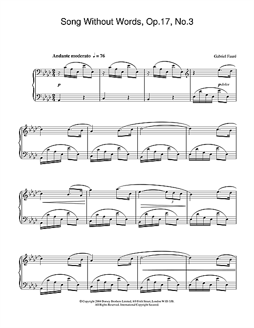 Partition piano Song Without Words, Op.17, No.3 de Gabriel Faure - Piano Solo