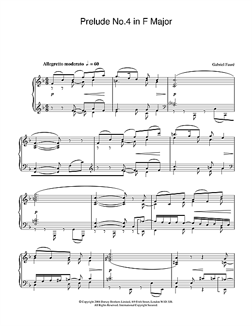 Partition piano Prelude No.4 in F Major de Gabriel Faure - Piano Solo