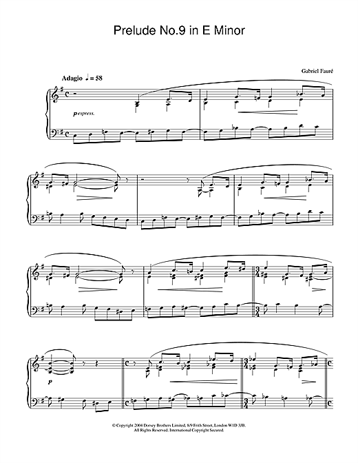 Prelude No.9 In E Minor Sheet Music