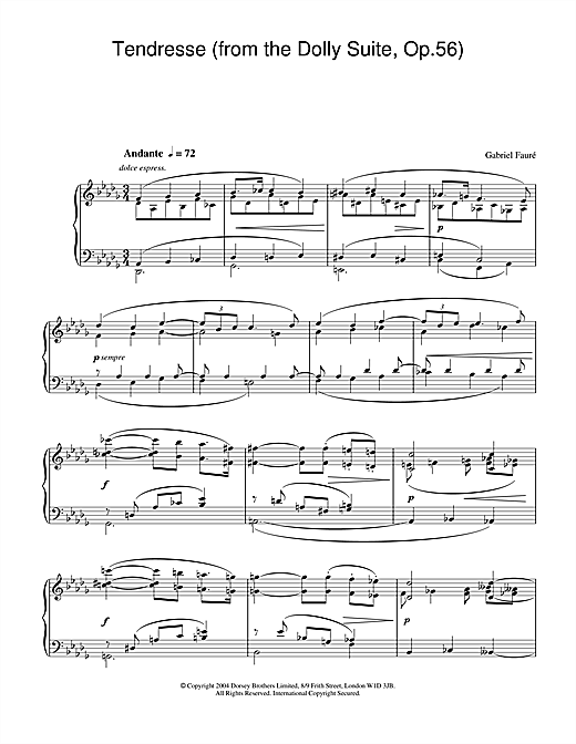 Tendresse (from the Dolly Suite, Op.56) Sheet Music