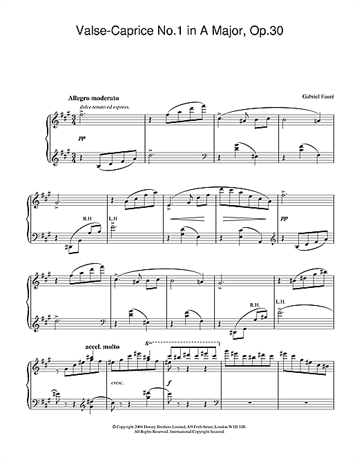 Partition piano Valse-Caprice No.1 in A Major, Op.30 de Gabriel Faure - Piano Solo