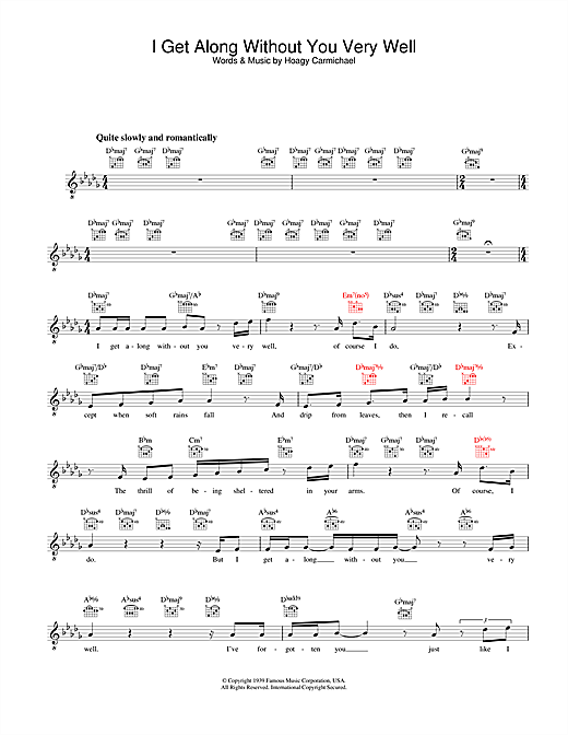 I Get Along Without You Very Well Sheet Music
