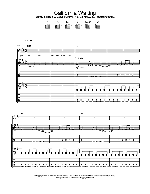 Tablature guitare California Waiting de Kings Of Leon - Tablature Guitare