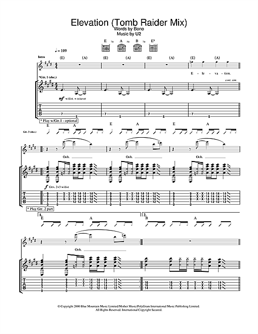 Elevation (Tomb Raider Mix) Sheet Music