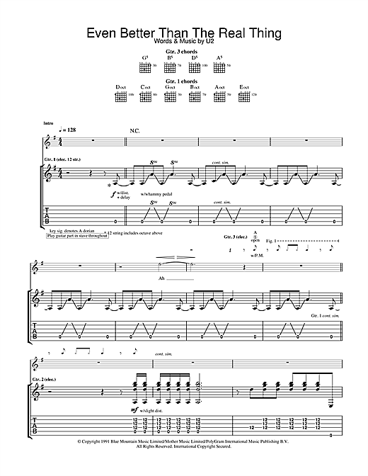 Tablature guitare Even Better Than The Real Thing de U2 - Tablature Guitare