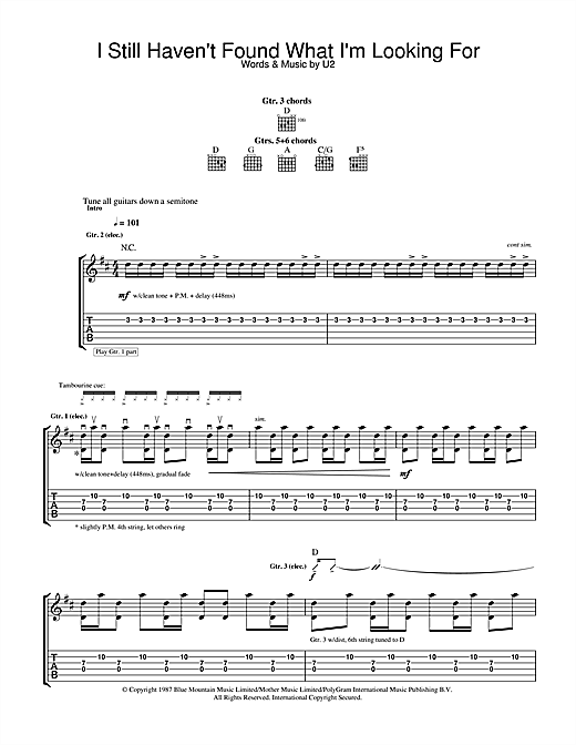 Tablature guitare I Still Haven't Found What I'm Looking For de U2 - Tablature Guitare