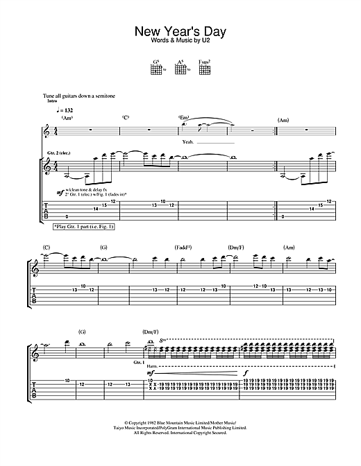 Tablature guitare New Year's Day de U2 - Tablature Guitare