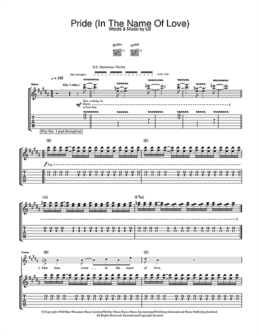 Pride (In The Name Of Love) Sheet Music