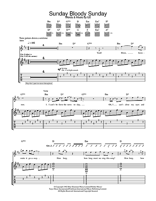 Tablature guitare Sunday Bloody Sunday de U2 - Tablature Guitare