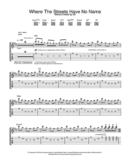 Tablature guitare Where The Streets Have No Name de U2 - Tablature Guitare