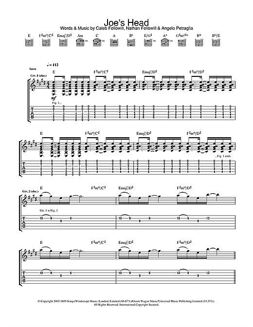 Tablature guitare Joe's Head de Kings Of Leon - Tablature Guitare