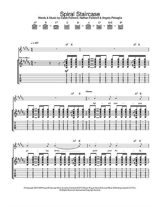 Tablature guitare Spiral Staircase de Kings Of Leon - Tablature Guitare