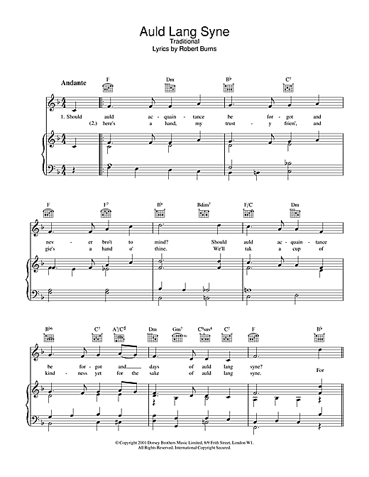 Auld Lang Syne (Piano, Vocal & Guitar (Right-Hand Melody))