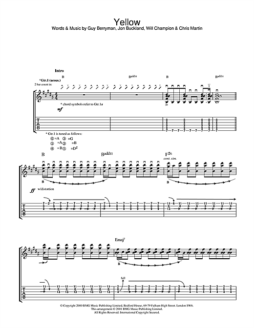 Tablature guitare Yellow de Coldplay - Tablature Guitare