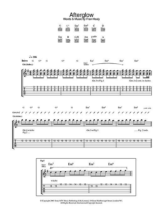 Afterglow (Guitar Tab)