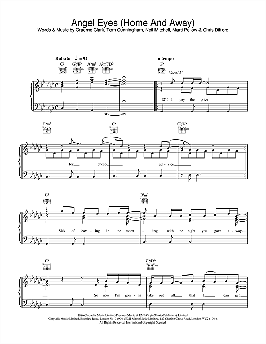 Angel Eyes (Home And Away) Sheet Music