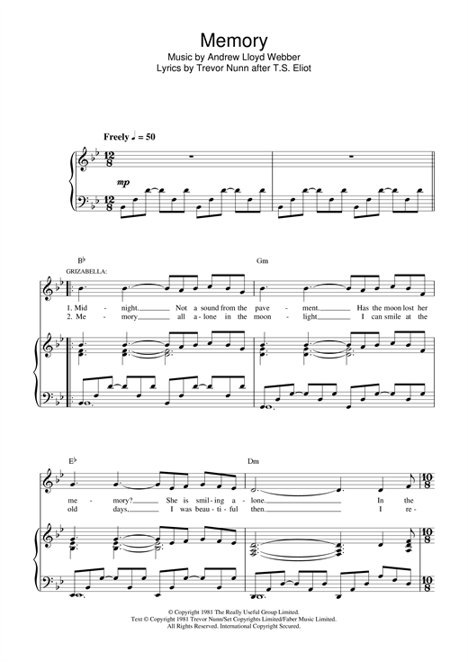Partition piano Memory (from Cats) de Andrew Lloyd Webber - Piano Voix Guitare (Mélodie Main Droite)