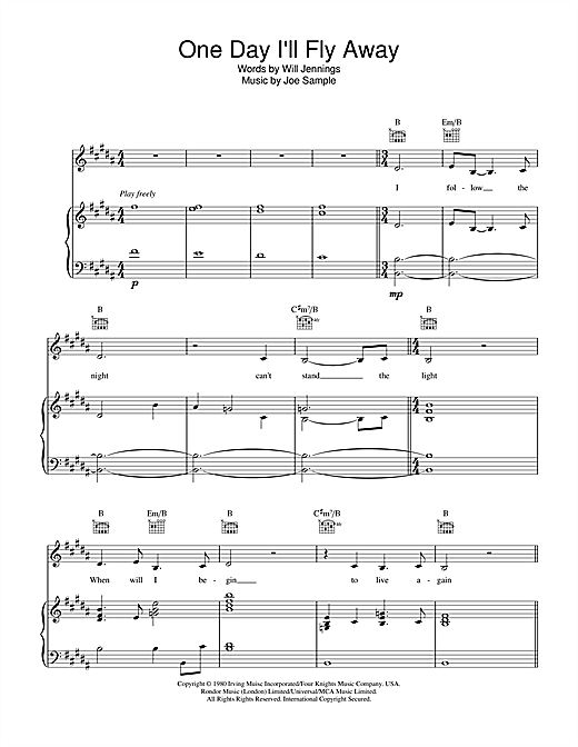 One Day I'll Fly Away (from Moulin Rouge) Sheet Music