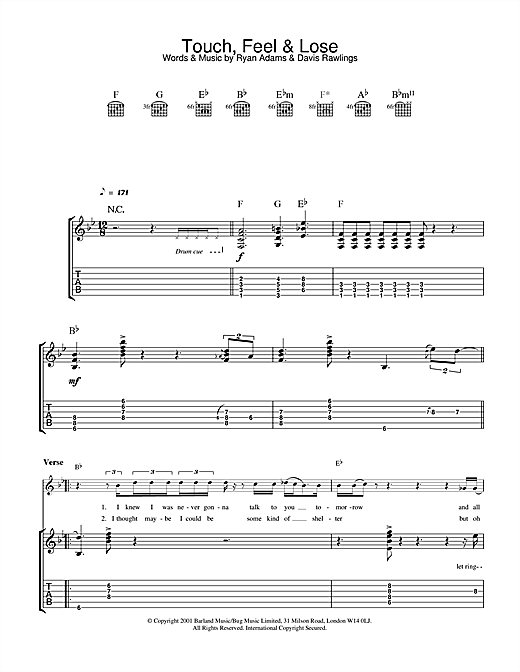 Tablature guitare Touch, Feel & Lose de Ryan Adams - Tablature Guitare