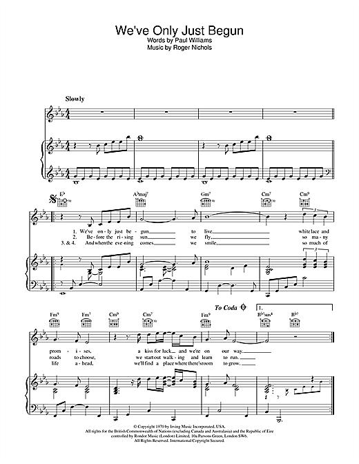 We've Only Just Begun sheet music by Carpenters (Piano ...