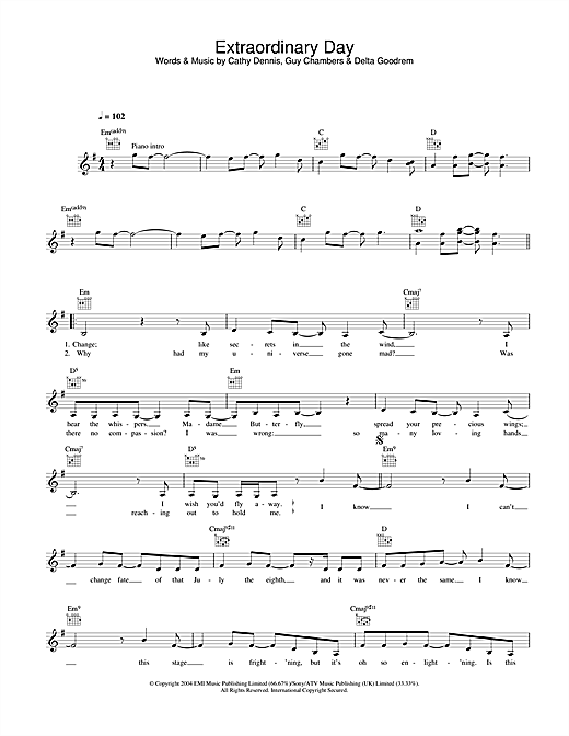 Extraordinary Day (Lead Sheet / Fake Book)