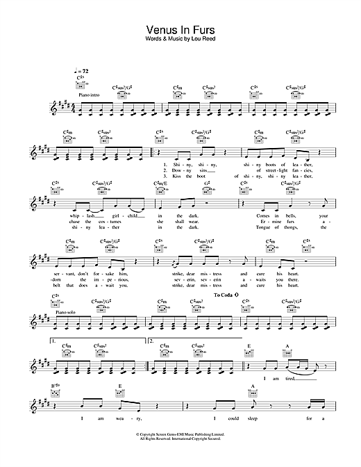 Venus In Furs (Lead Sheet / Fake Book)