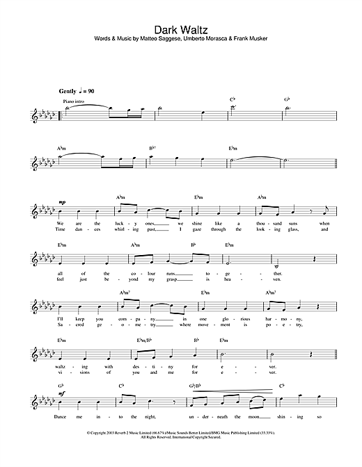 Dark Waltz chords by Hayley Westenra (Melody Line, Lyrics u0026 Chords u2013 31591)