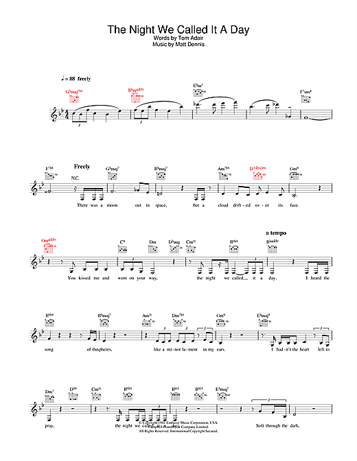 The Night We Called It A Day (Lead Sheet / Fake Book)