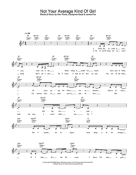 Not Your Average Kind Of Girl Sheet Music