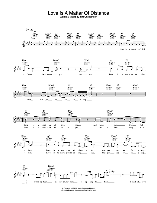 Love Is A Matter Of Distance (Lead Sheet / Fake Book)