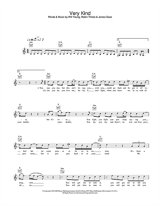 Very Kind (Lead Sheet / Fake Book)