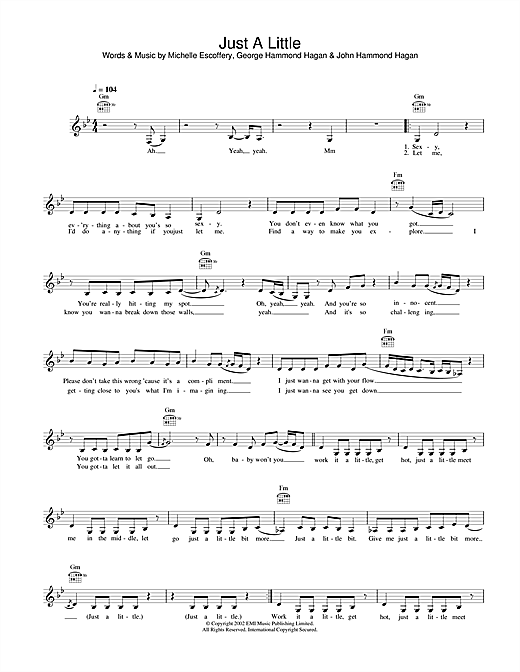 Just A Little (Lead Sheet / Fake Book)