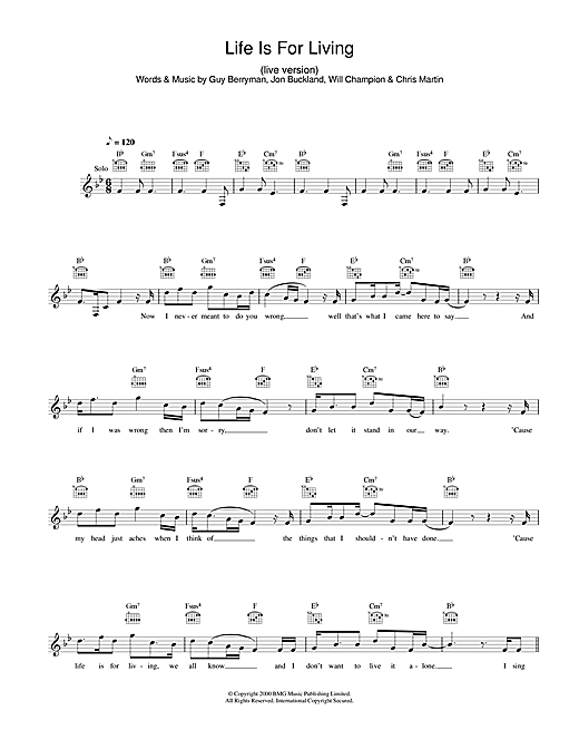 Life Is For Living (Lead Sheet / Fake Book)