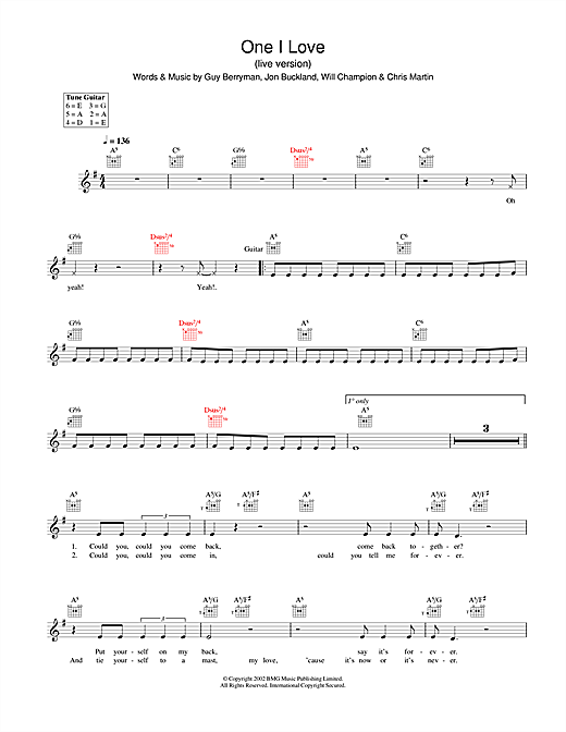 One I Love chords by Coldplay (Melody Line, Lyrics & Chords – 31640)