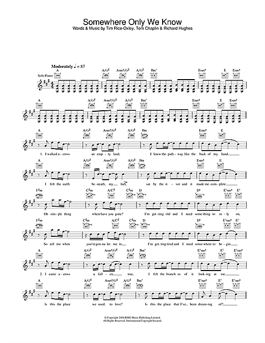 Somewhere Only We Know Sheet Music
