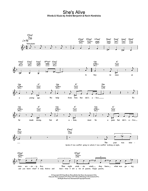 She's Alive (Lead Sheet / Fake Book)