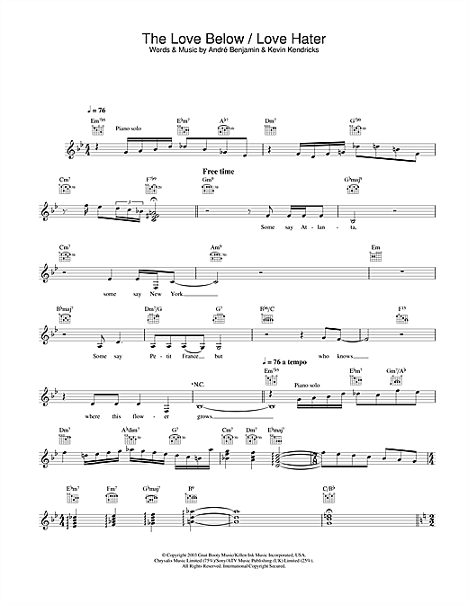 The Love Below / Love Hater Sheet Music