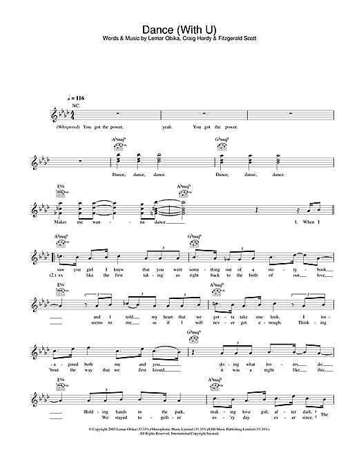 Dance (With U) (Lead Sheet / Fake Book)