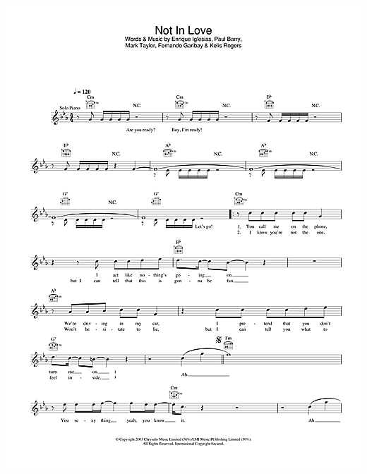 Not In Love Sheet Music