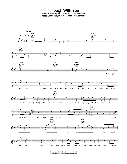 Through With You (Lead Sheet / Fake Book)