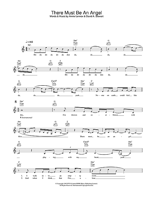 There Must Be An Angel (Playing With My Heart) (Lead Sheet / Fake Book)