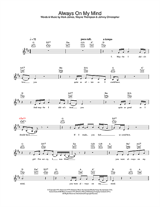Always On My Mind (Lead Sheet / Fake Book)