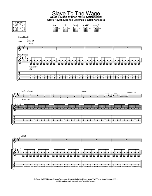Slave To The Wage (Guitar Tab)