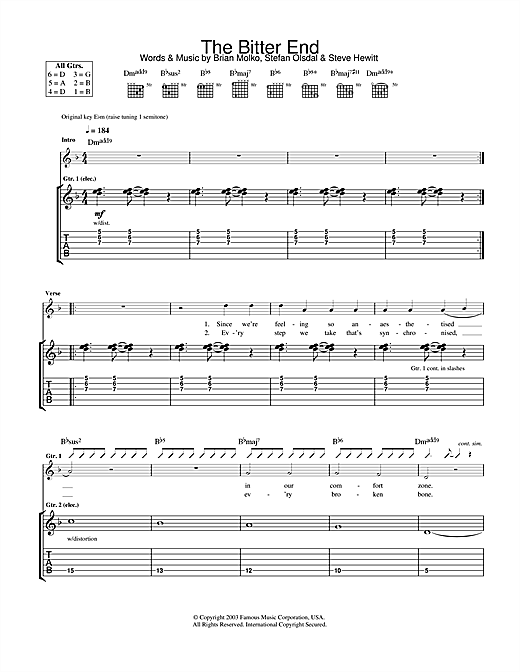 The Bitter End Sheet Music