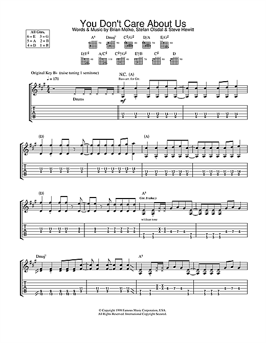Tablature guitare You Don't Care About Us de Placebo - Tablature Guitare