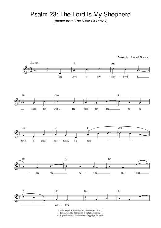 Psalm 23 - The Lord Is My Shepherd (theme from The Vicar Of Dibley) (Lead Sheet / Fake Book)