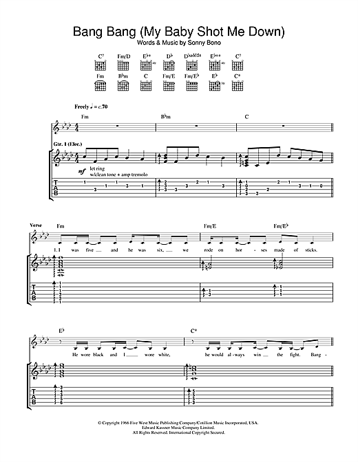 Tablature guitare Bang Bang (My Baby Shot Me Down) de Nancy Sinatra - Tablature Guitare