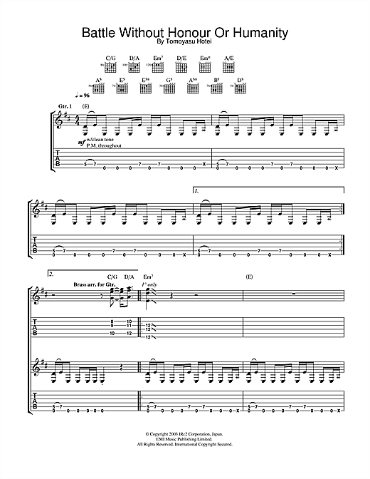 Tablature guitare Battle Without Honour Or Humanity (from Kill Bill Vol. 1) de Tomoyasu Hotei - Tablature Guitare