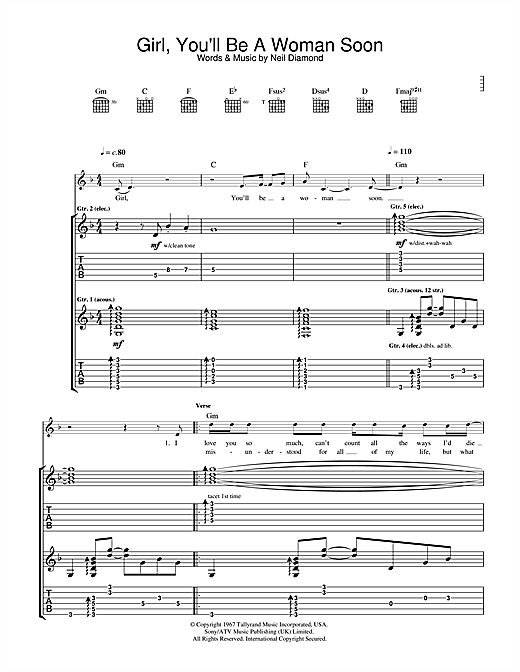 Tablature guitare Girl, You'll Be A Woman Soon (from Pulp Fiction) de Urge Overkill - Tablature Guitare